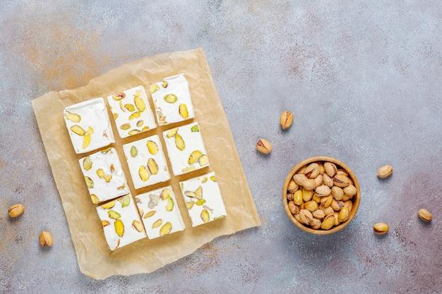 Organic homemade nougat made with honey