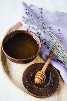 Organic honey and lavender flowers.