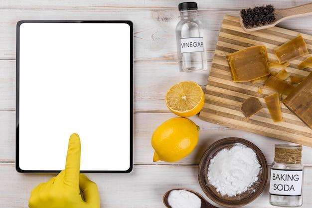 유기 집 청소기 복사 공간 태블릿