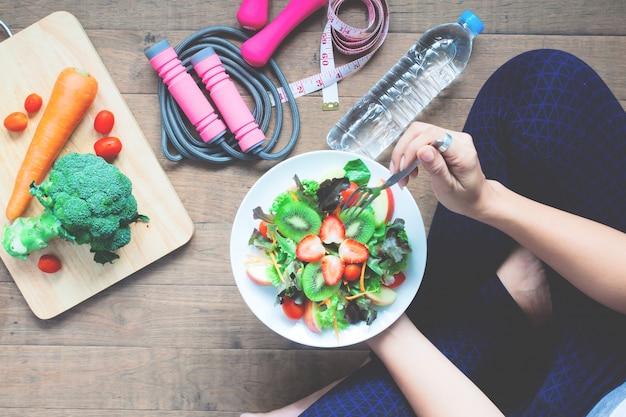 Organic ingredient model vegetarian workout green