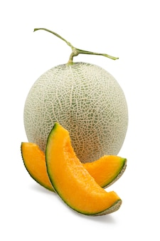 Organic japanese cantaloup melon and sliced on white isolated background with clipping path.