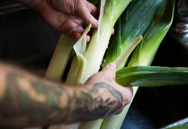 Organic leeks food photography recipe idea