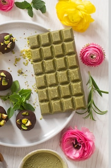 Organic matcha green chocolate with natural ingredients