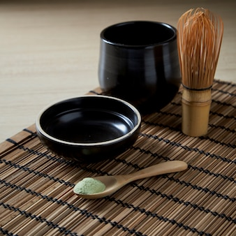 Organic matcha green tea on wooden