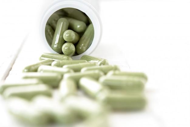 Organic natural green asian kariyat plant herbal medicine in form of capsules