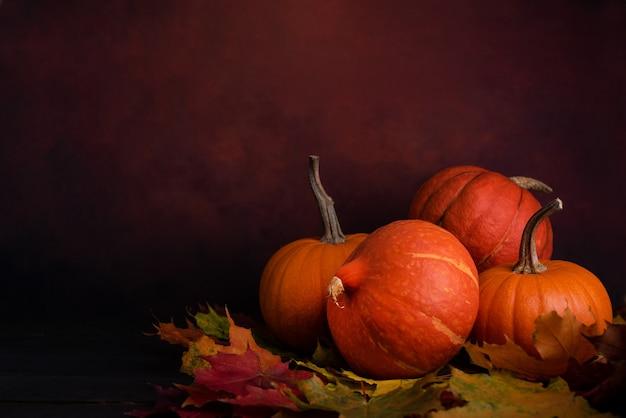 Органические оранжевые тыквы над осенними листьями на темном фоне. осенние тыквы с копией пространства.