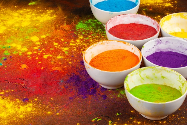Organic powder colors in bowl for holi festival