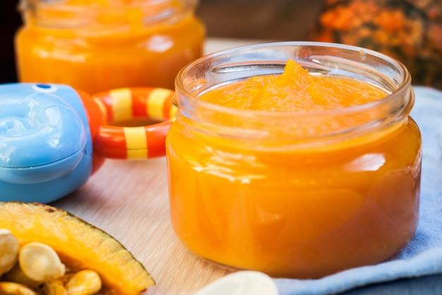 Organic pumpkin puree. baby food.