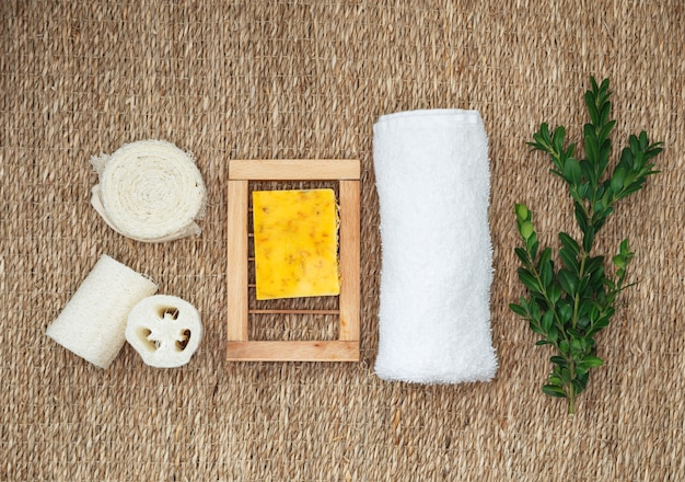 Organic pure handmade soap with various natural additives. natural organic spa cosmetics for body and face care.