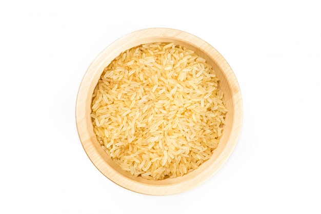 Organic rice on white.