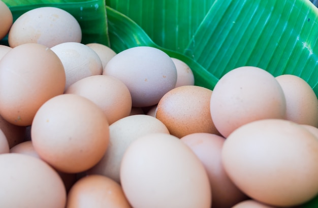 Organic salted eggs in banana leaves