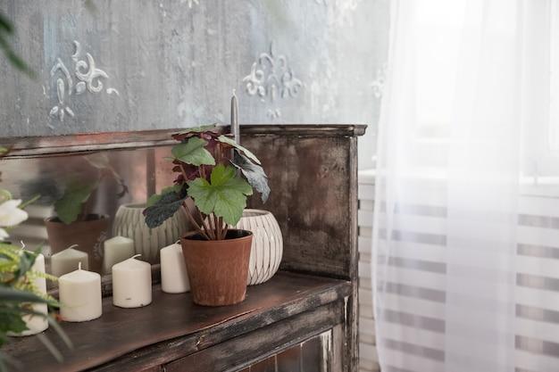 회색 콘크리트 시멘트 벽 바탕에 유기농 간장 촛불. 로프트 인테리어 장식, 미니멀리즘 개념.