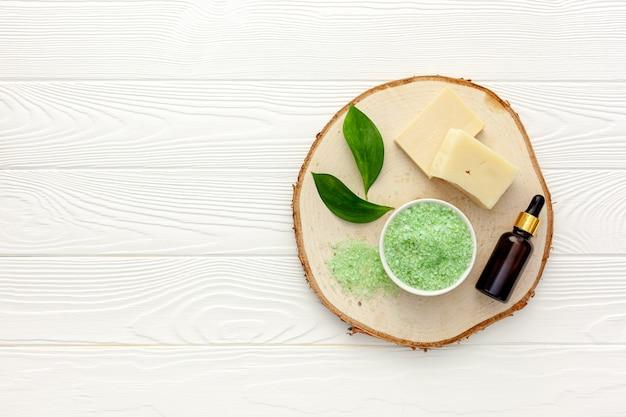 Organic spa cosmetics with tea tree oil and sea salt
