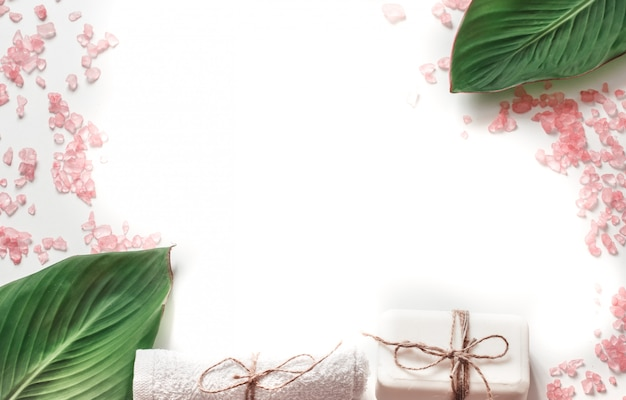 Organic spa products on white background