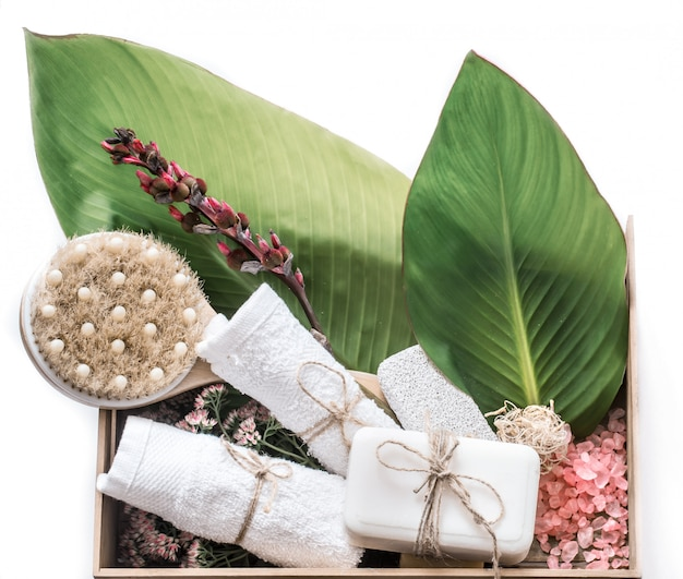 Organic spa products in a wooden box