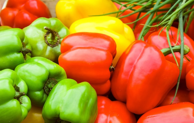 Organic sweet bell peppers - red, yellow and green. paprika