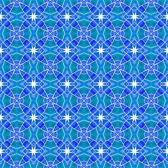 Органическая плитка. синий достойный бохо шикарный летний дизайн. текстиль готов, исключительный принт, ткань для купальных костюмов, обои, упаковка. модная органическая зеленая граница.