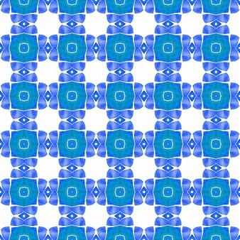 유기농 타일. 파란색 놀라운 boho 세련된 여름 디자인. 트렌디한 유기 녹색 테두리입니다. 섬유 준비 신선한 인쇄, 수영복 직물, 벽지, 포장.