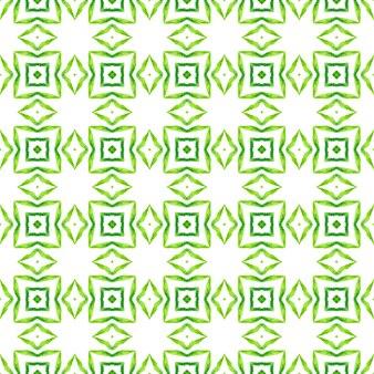 有機タイル。緑の上流階級の自由奔放に生きるシックな夏のデザイン。テキスタイルレディの妖艶なプリント、水着生地、壁紙、ラッピング。トレンディなオーガニックグリーンボーダー。
