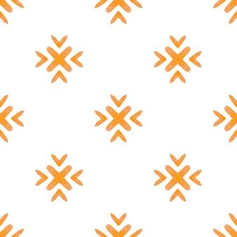 有機タイル。オレンジ色の驚くべき自由奔放に生きるシックな夏のデザイン。テキスタイルレディの見た目のプリント、水着生地、壁紙、ラッピング。トレンディなオーガニックグリーンボーダー。
