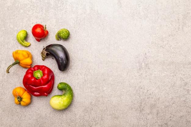 Organic vegetables. assortment of fresh pepper, eggplant, cucumber, tomato, pumpkin