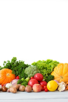 Organic vegetables and fruits isolated.