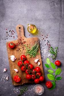 Organic vegetarian ingredients, olive oil and seasoning