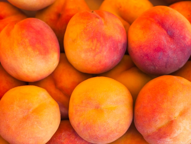 An organic whole peach fruits