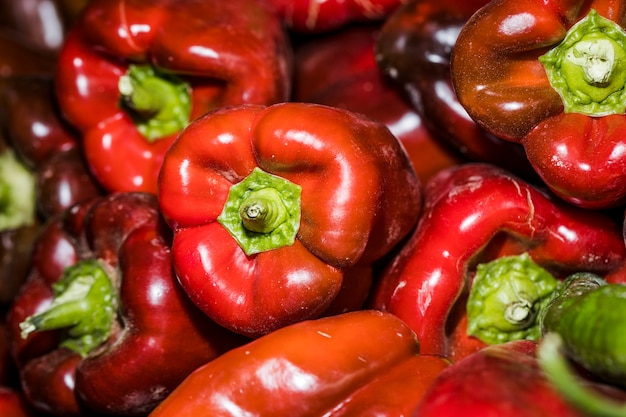 Organig red peppers for sales on market