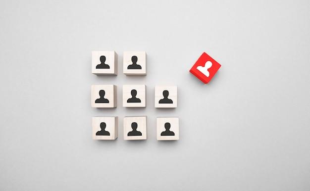 조직 구조, 팀 빌딩, 비즈니스 관리 또는 인적 자원 개념.
