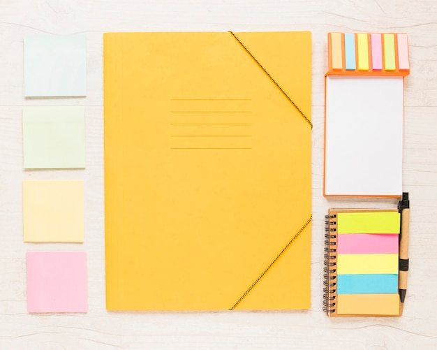 Organized workplace with folder and stationary