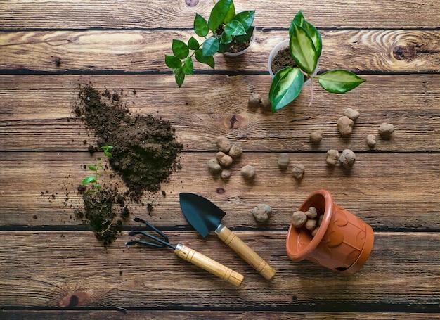テーブルの上に敷かれた土と排水。観葉植物の移植。植物の栽培、家庭の花ori栽培。