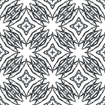東洋のアラベスク手描きの境界線。黒と白の上質な自由奔放に生きるシックな夏のデザイン。アラベスク手描きデザイン。テキスタイルレディの鮮やかなプリント、水着生地、壁紙、ラッピング。