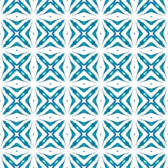 東洋のアラベスク手描きの境界線。ブルーの魅惑的な自由奔放に生きるシックな夏のデザイン。テキスタイル対応の印象的なプリント、水着生地、壁紙、ラッピング。アラベスク手描きデザイン。