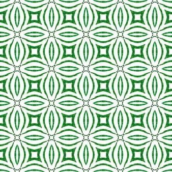 東洋のアラベスク手描きの境界線。緑の思い出に残る自由奔放に生きるシックな夏のデザイン。テキスタイルレディエクストラプリント、水着生地、壁紙、ラッピング。アラベスク手描きデザイン。
