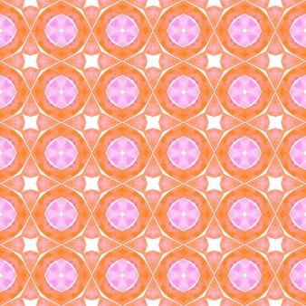 東洋のアラベスク手描きの境界線。オレンジ色の抜群の自由奔放に生きるシックな夏のデザイン。アラベスク手描きデザイン。テキスタイル対応のまばゆいばかりのプリント、水着生地、壁紙、ラッピング。