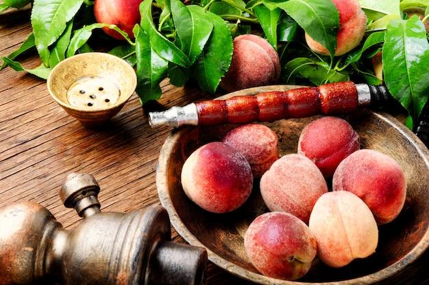 Oriental hookah shisha with peach