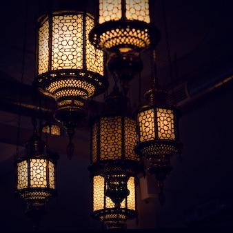 Oriental lights glowing at night. turkish culture