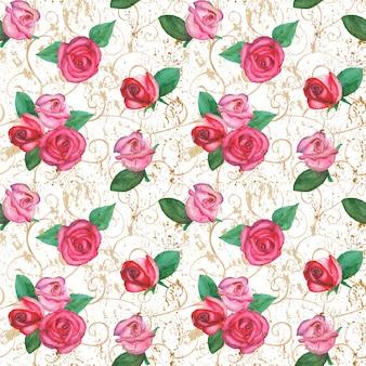 Oriental roses seamless pattern