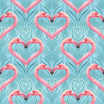 Oriental seamless blue pattern with pink flamingo. abstract background. print for wrapping paper, textil, fabric, fashion, cards, wedding invitations