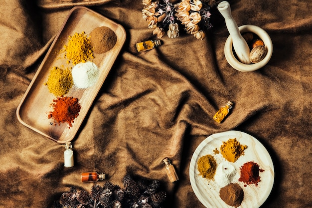 Oriental spices on cloth