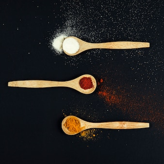 Oriental spices on three spoons