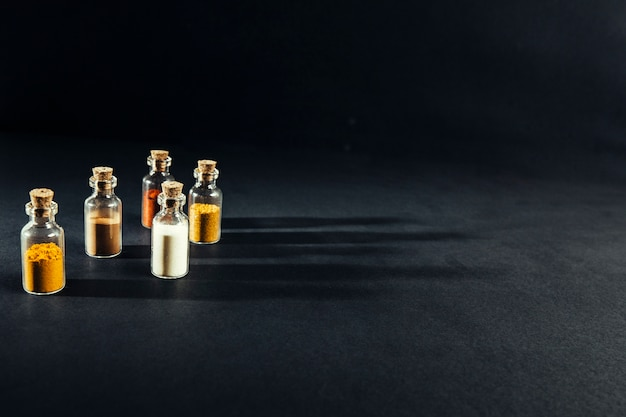 Oriental spices in small bottles