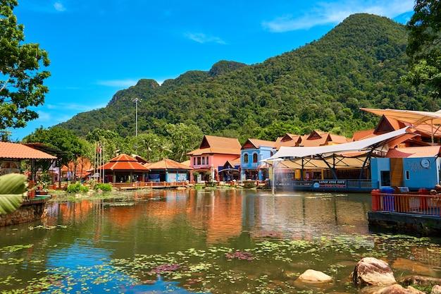 Oriental village on the island of langkawi. langkawi, malaysia - 07.08.2020