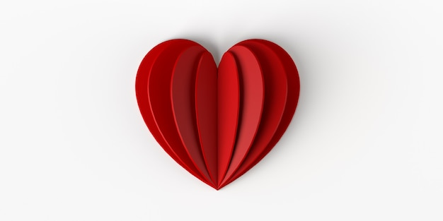 Origami heart on isolated white background 3d illustration
