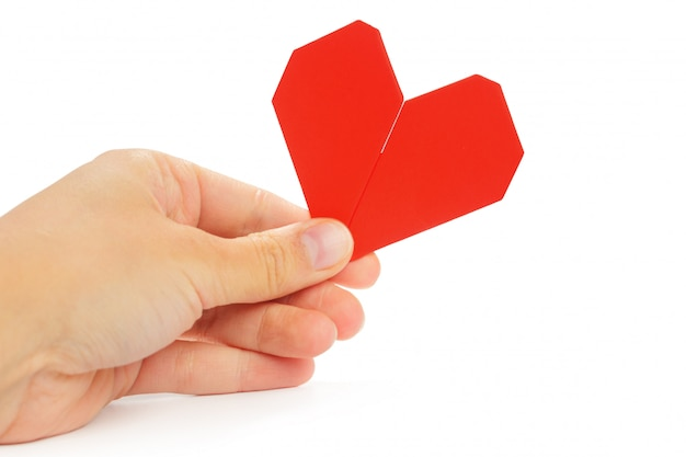 Origami heart. symbol of valentine's day