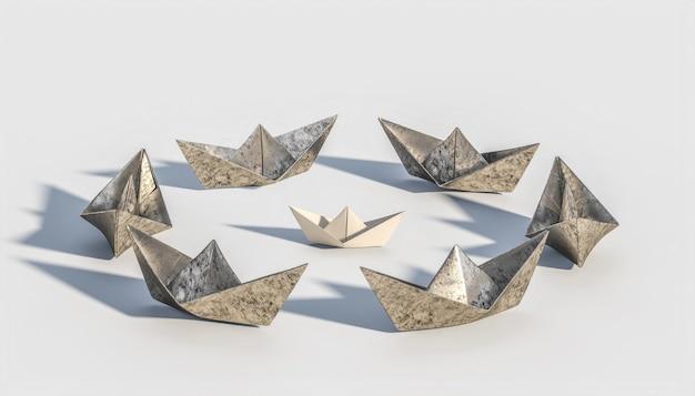 金属製のボートに囲まれた折り紙のボート。強さと独自性の概念。 3dレンダリング。