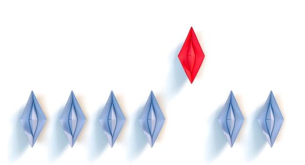 종이접기 종이배. 리더십 개념입니다. 3d 렌더링