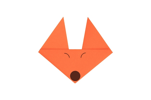 Origami paper fox face isolated on white background. image with clipping path