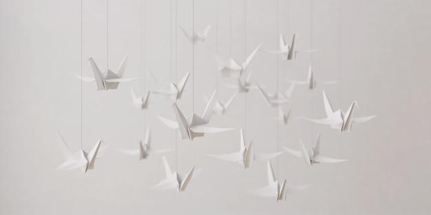 折り紙ホワイトペーパーバード